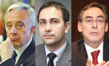 Mugur Isărescu (Guvernatorul BNR), Lucian Isar, Manfred Wimmer (CEO Erste Bank)
